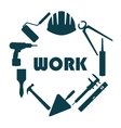 Flat design Round logo with house repair icons vector image