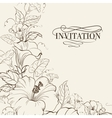 Nature card with blooming hibiscus vector image