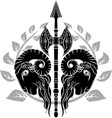 Ram axe with laurel wreath vector image