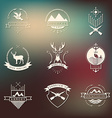 Set of camping and hunting logos Mountain vector image