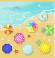 Summer beach in flat design style Shell and towel vector image
