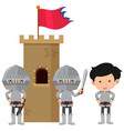 three knights at the castle tower vector image
