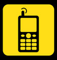 yellow black sign - old mobile phone with antenna vector image