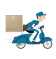 Funny postman delivering package on blue scooter vector image vector image