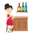 smiling woman sitting at the bar counter vector image