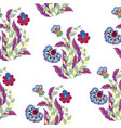 Floral seamless pattern with hand drawing vector image