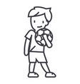 boy with ball line icon sign vector image