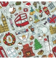London winter seamless patternChristmas Doodles vector image