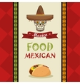 poster food and skull mexican design vector image
