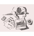 Sketch of Man with Computer Office Work Hand Drawn vector image