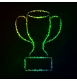 Cup silhouette of lights on dark background vector image