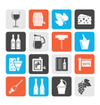Silhouette Wine industry objects icons vector image vector image