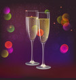 champagne glasses and streamer with on dark vector image