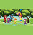 park scene with children running in the rain vector image