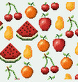 color pixelated pattern set collection fruits vector image