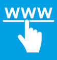 hand cursor and website icon white vector image