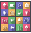 food and drink icons in flat design vector image