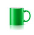 Green mug on white vector image