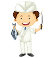 Sushi chef with sharp knife and fish vector image