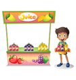 A boy selling fruit juices vector image