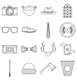 Hipster items icons set outline style vector image