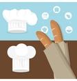 breakfast baguettes hat chef tasty flyer vector image