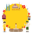malaysia landmarks people in traditional vector image