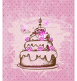 Vintage hand drawn cake vector image vector image