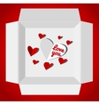 Valentin day with gift box red paper vector image