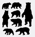 Bear wild animal silhouettes vector image