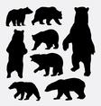 Bear wild animal silhouettes vector image