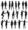 Black silhouettes of beautiful girls in stewardess vector image