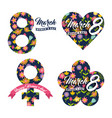 celebration labels happy womens day floral vector image