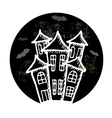 Hand drawn doodle Halloween castle Black and vector image