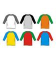 set t-shirt raglan vector image