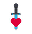 tattoo decorative element with heart and sword vector image