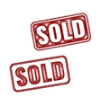 Two realistic Sold grunge rubber stamps vector image