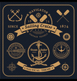 Vintage nautical labels set on dark bcakground vector image