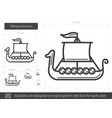 viking ship line icon vector image