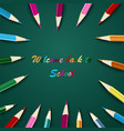 back to school with colored pencils on green vector image vector image