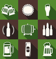 Flat Design Beer Icons with Long Shadow Light on vector image