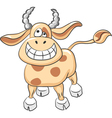 cartoon funny cow smile vector image vector image