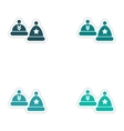 Set of paper stickers on white background hats vector image