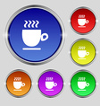 Coffee cup sign Round symbol on bright colourful vector image