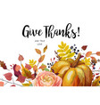 happy thanksgiving floral watercolor style hand vector image