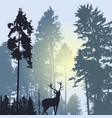 landscape with silhouette of forest trees and deer vector image