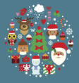 Winter holidays composition with cute characters vector image