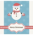 snowman wearing Santa Claus hat and mittens vector image