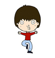 comic cartoon excited boy vector image