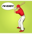 Baseball player with bat pop art style vector image